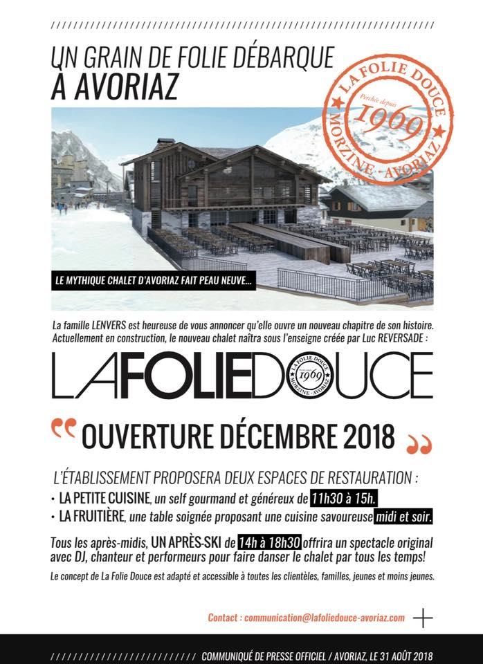 La Folie Douce Clbre Marque De Restaurants Discothques Daltitude Ouvrira En Dcembre 2018 Un Tablissement Dans